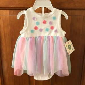 Little Me darling onesie with tulle overlay. 6mo